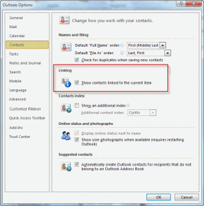 Enable contact linking in Outlook 2010