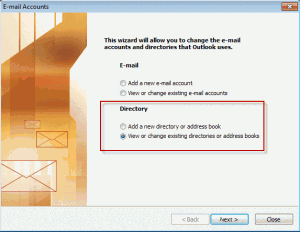Outlook 2003 tools, accounts dialog