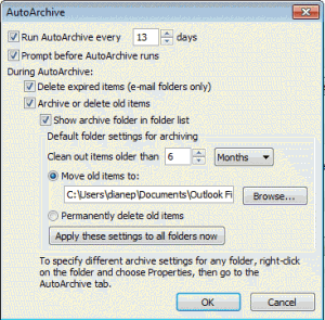 Configure global AutoArchive Settings
