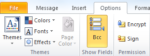 BCC options dialog