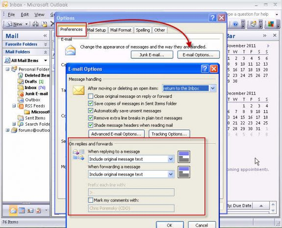 Preferences, Email options dialog in Outlook 2007 (and older)