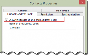 Enable Contact folder as an Address book