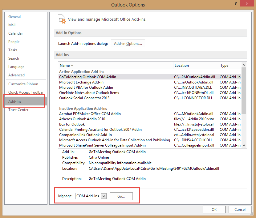 how to enable outlook add ins