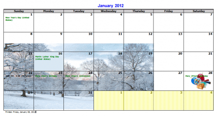 Customize the calendar before printing