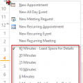 To change the hourly interval in Outlook