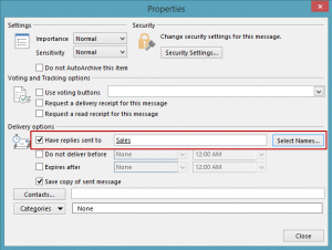 Set a reply to address in Message options