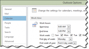 Set working hours in Outlook's Calendar Options