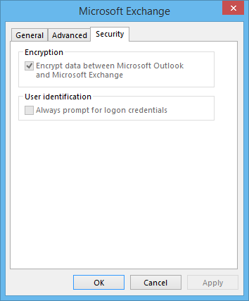 Outlook 2016 - Exchange doesn't have a connection tab