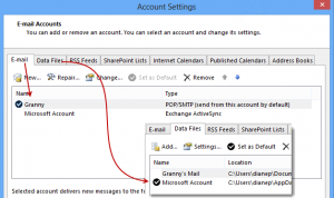 Set the isp account as default along with the outlook.com data file