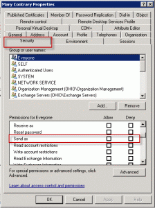 Check for Send as permission in the Active Directory