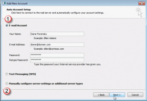 Use autosetup to create the account