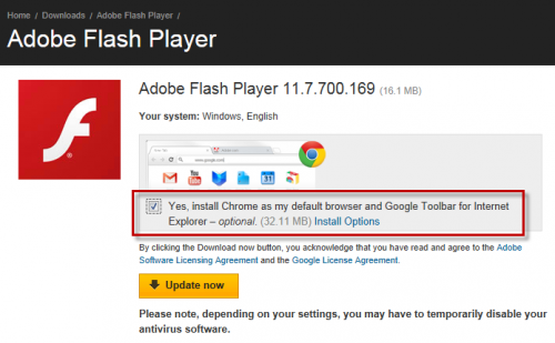 Bad Adobe installs Chrome by default