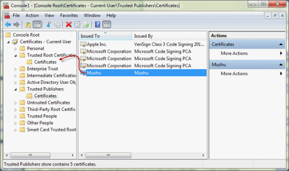 Drag the certificate to the Trusted Root certificate folder