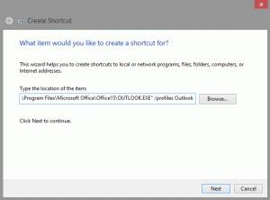 Create a shortcut to open Outlook