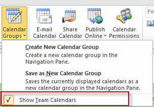 Expand calendar groups to hide team calendars