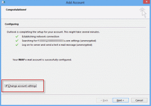 Manually configure account