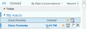 Meeting request and associated appointment in conversation view