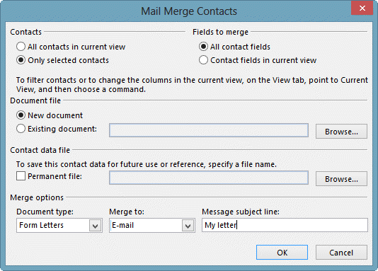Mail merge to a category of contacts