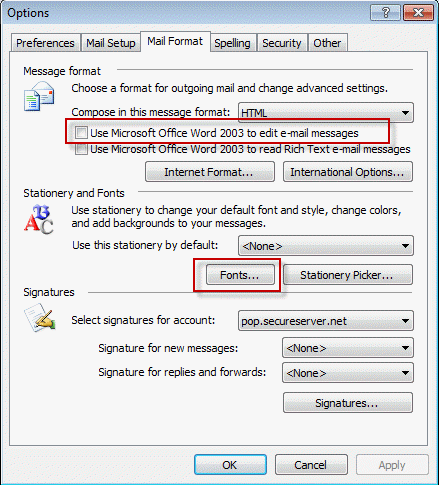 Font options in Outlook 2003