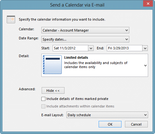 Send by email dialog