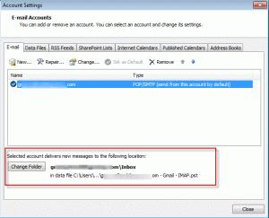 Choose a default delivery folder
