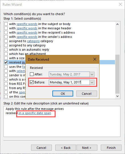 Create a rule for older mail