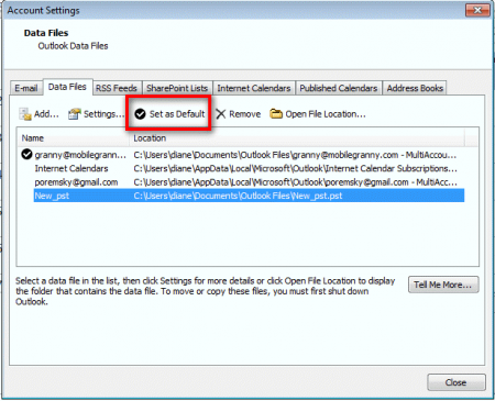 Account Settings dialog on Outlook 2010 and 2007