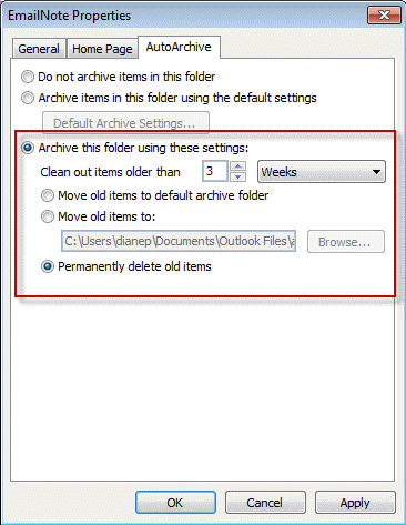 Configure autoarchive setting by folder