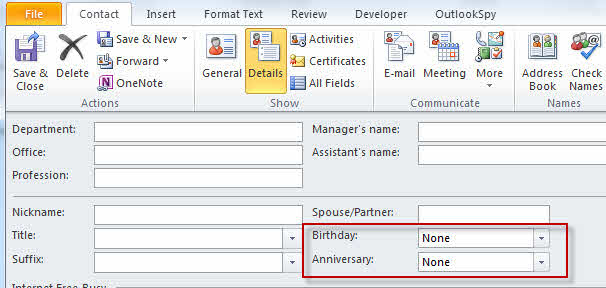 Adding Birthdays And Anniversaries To Outlook'S Calendar