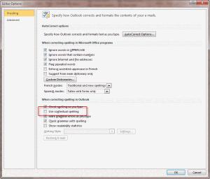 Change the autocorrect options