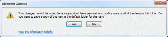 Changes can't be saved warning dialog