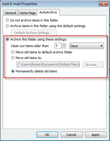 Configure per-folder archive settings