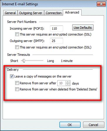 Leave mail on server