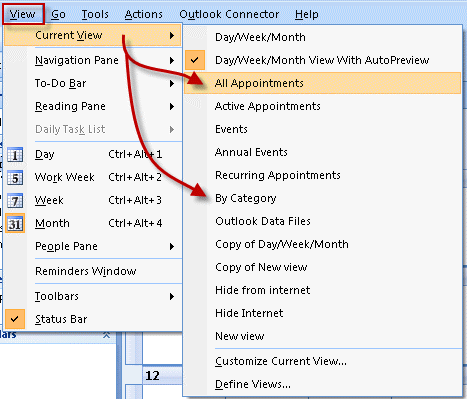 Choose a list view in Outlook 2007