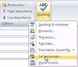 Outlook 2007's set language option