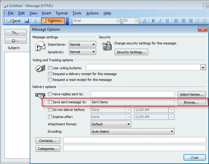 Choosing the Folder to Save a Sent Message In