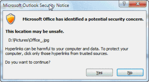 Security dialog when opening files on the shortcut bar