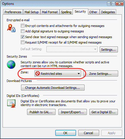 Internet Zone Security settings