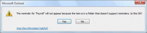 reminders won't fire in outlook