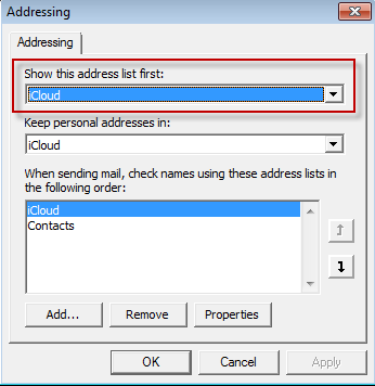 Show the icloud contacts before Outlook's contacts