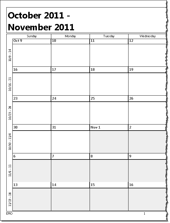 Printing a five week calendar for Outlook calendar printing assistant templates