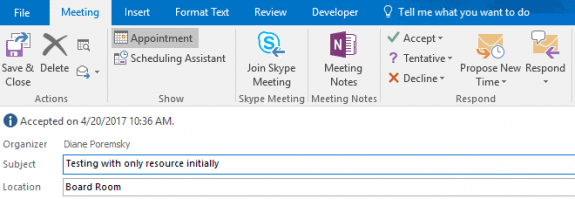 After accepting, it looks like a normal meeting