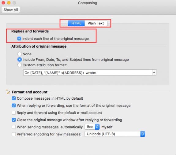 Compose Options on a Mac