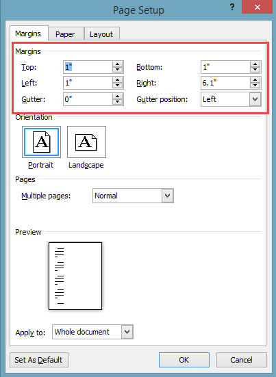 how to set margins in open office document