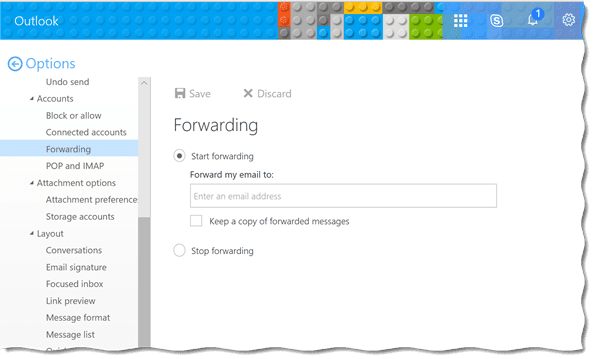 how to stop forwarding email from outlook
