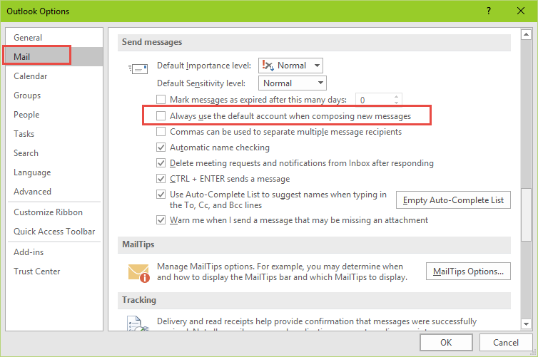 Outlook Multiple Accounts And The Default Account