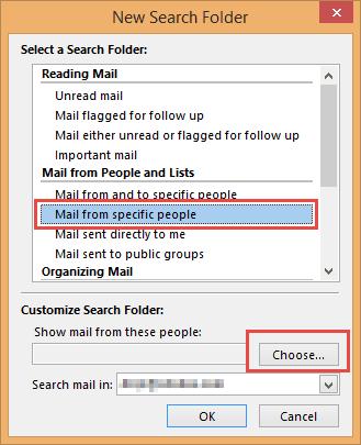 Create a new search folder