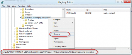 Use the registry editor to rename the key