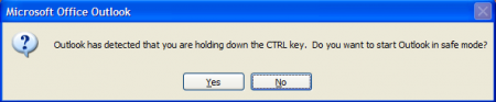 When you Ctrl click on the Outlook shortcut, you are asked if you want to start in Safe mode.