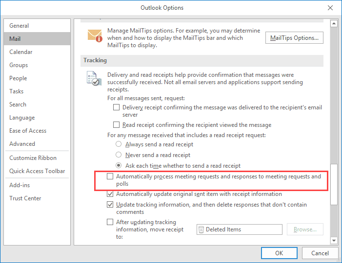 Outlook 2007 meeting tracking not updating